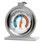 Analog fridge thermometers in stainless steel